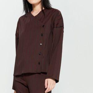 NWT Hache Striped Asymmetrical Blouse Size 42